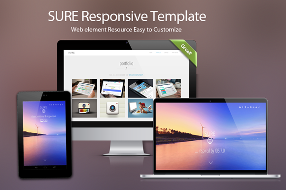 Bootstrap theme Sure : Responsive theme for startups