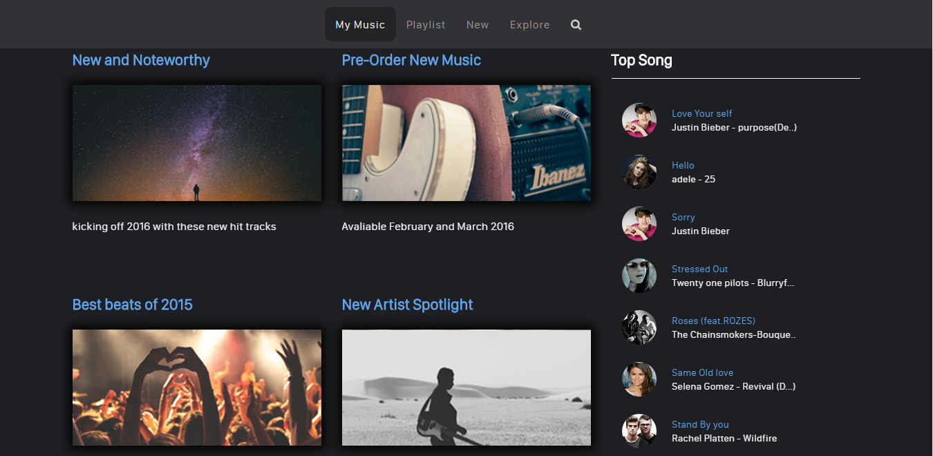 Bootstrap theme My Music: All About Musical Stuff
