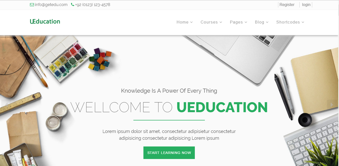 Bootstrap theme uEducation: Complete Educational Website including Courses & Scholarships