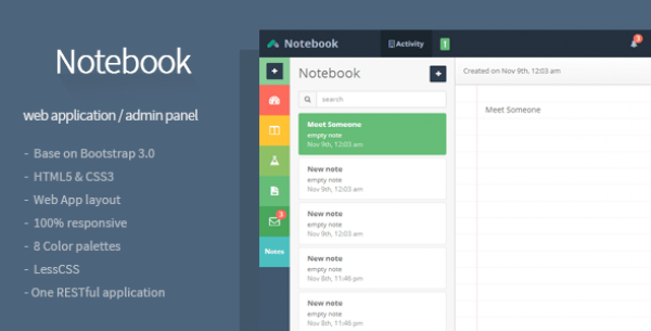 Notebook - Web App and Admin Template Bootstrap responsive themes
