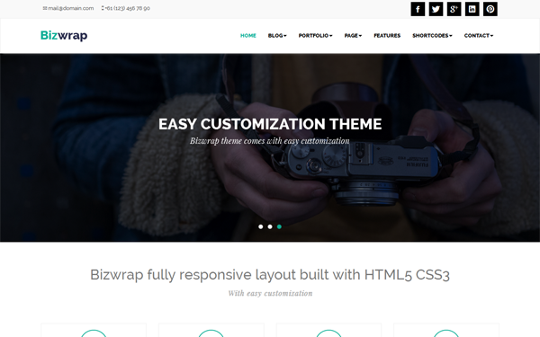 Bootstrap template Bizwrap - Responsive WordPress Theme