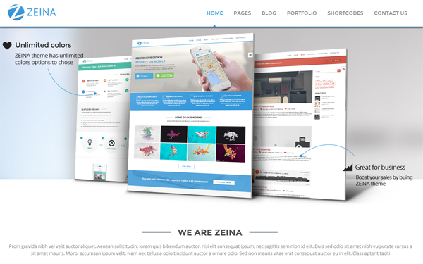 Bootstrap template Zeina - Responsive Multipurpose Template