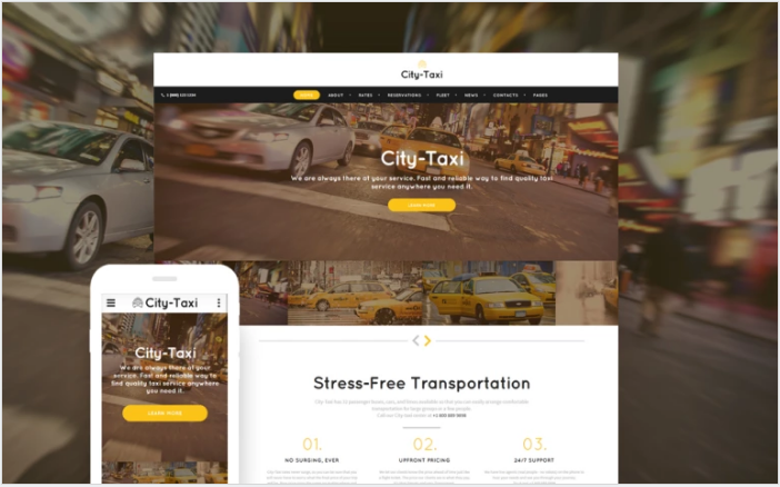 Bootstrap theme City Taxi - Taxi Service Responsive Website Template