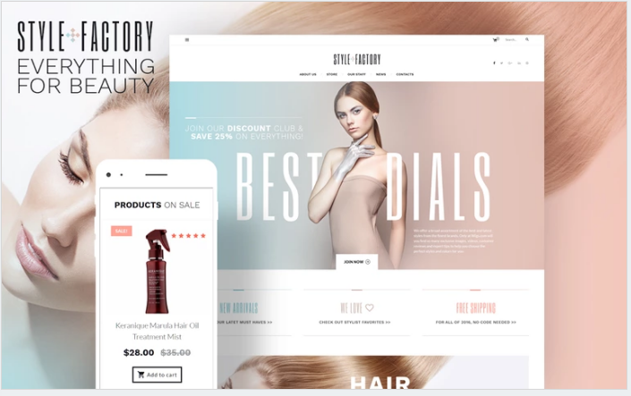Bootstrap theme Style Factory - Hair Care & Hair Styling WooCommerce Theme