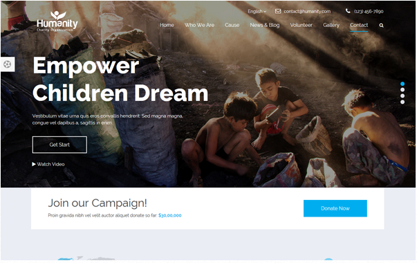 Bootstrap theme Humanity - Non-Profit Charity Theme
