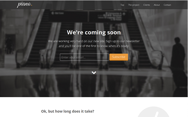 Bootstrap template Piano - Coming Soon Landing Page