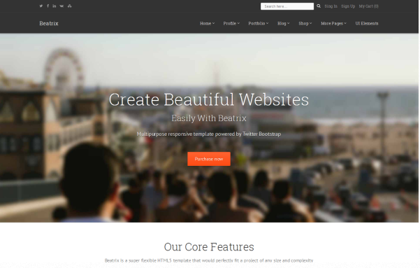 Bootstrap theme Beatrix - Multipurpose Responsive Theme