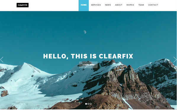 Bootstrap template Clearfix - One Page Theme