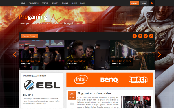 Bootstrap theme ProGaming - Responsive Gaming Magazine