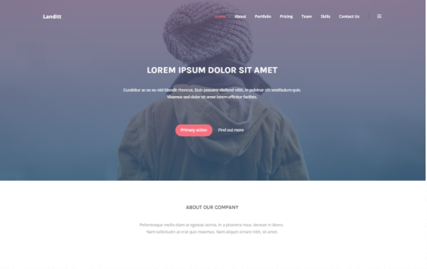 Landitt Clean Landing Page Template Bootstrap Responsive Themes - Personal landing page template