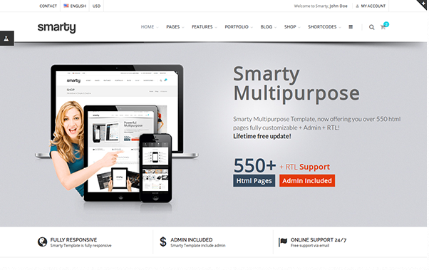 Bootstrap theme Smarty - Website + Admin + RTL
