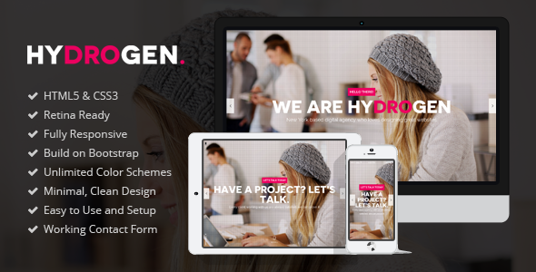 Bootstrap theme Hydrogen - Responsive HTML5 Template