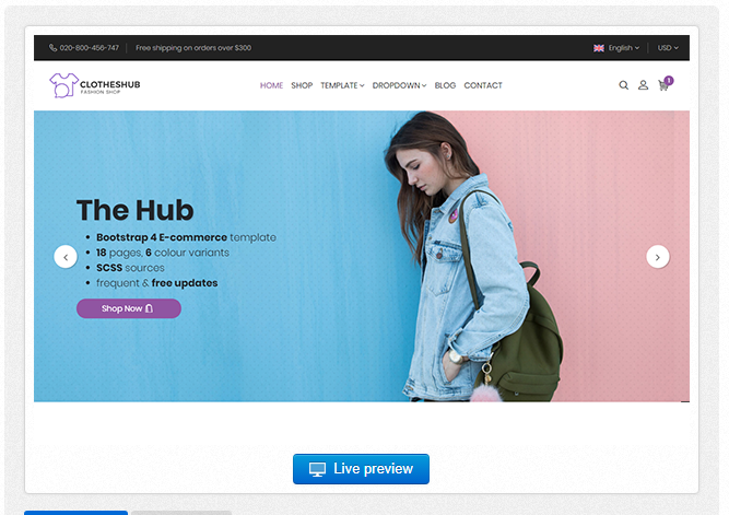 Bootstrap theme Hub - Bootstrap 4 E-Commerce Template