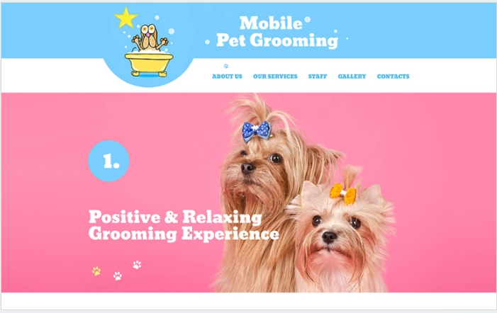 Bootstrap template Mobile Pet Grooming Website Template