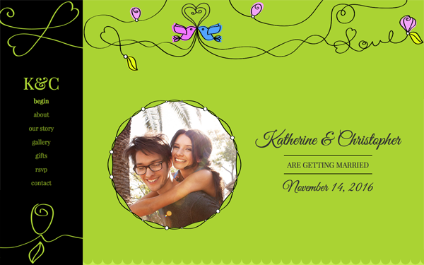 Bootstrap theme Swirly Love Wedding Template