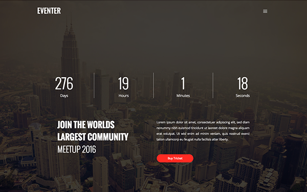 Bootstrap theme Eventer | Event Landing Page