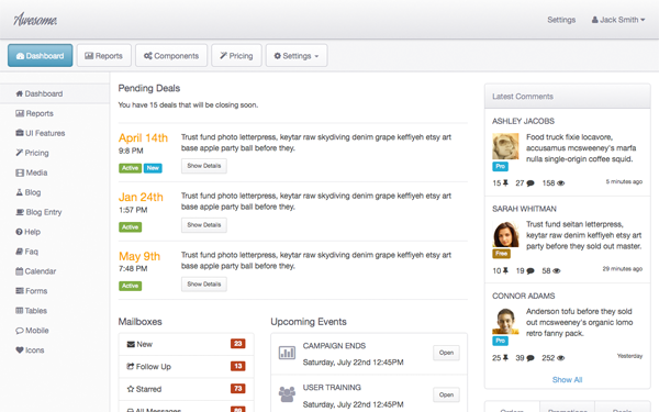 Bootstrap theme Awesome Admin