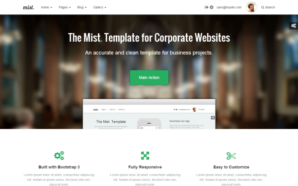 Bootstrap template Mist - Multipage Business Template