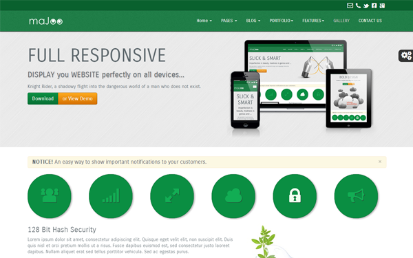 Majoo - Business Template Bootstrap responsive themes