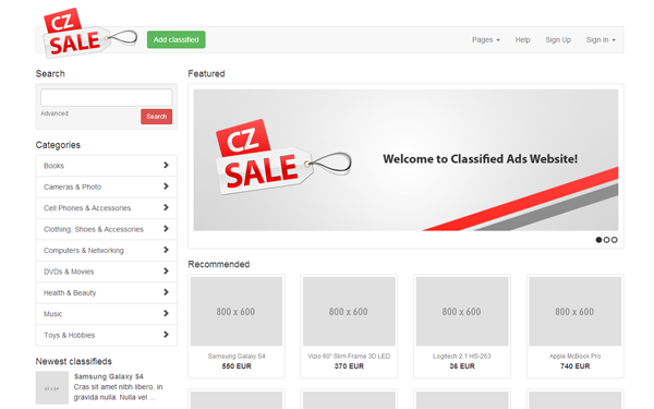 Czsale classified ads website template bootstrap responsive themes bootstrap template czsale classified ads website template maxwellsz