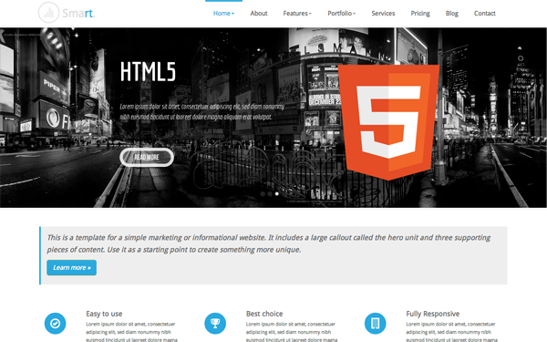 Bootstrap theme Smart Responsive Business Template