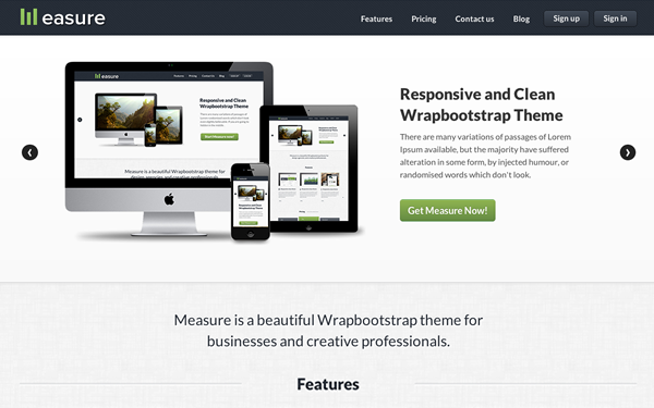 Bootstrap template Measure Responsive - Business Theme