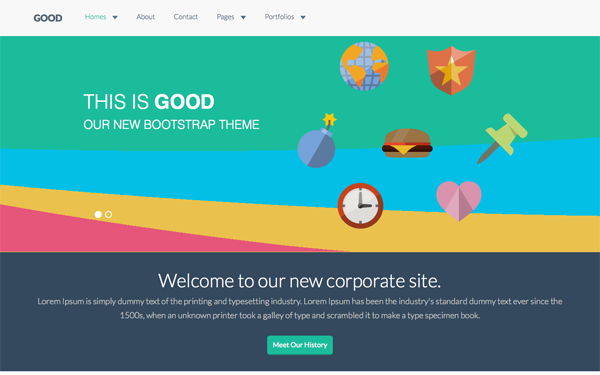 Bootstrap template GOOD - Flat Corporate Theme