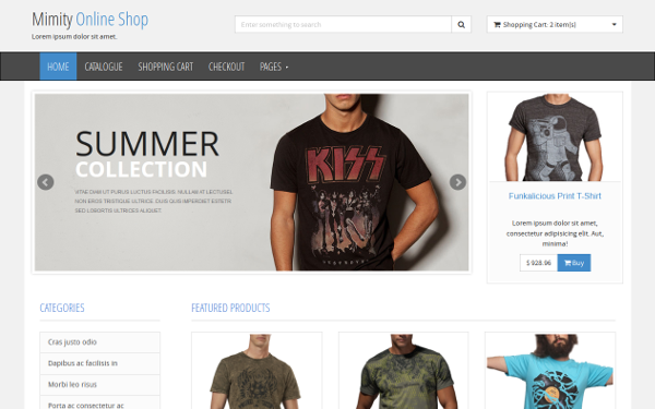 Mimity - Online Shop Template Bootstrap responsive themes