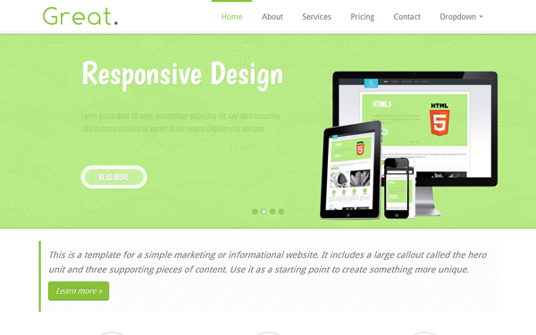 bootstrap template great responsive html5 business template