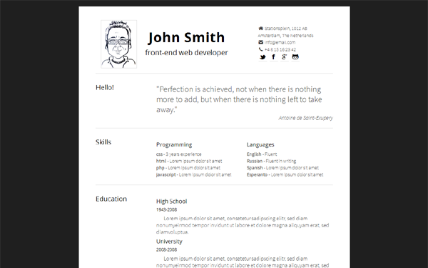 simply minimal responsive resume bootstrap responsive