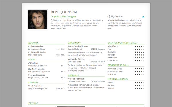 derek responsive one page resume bootstrap responsive themes