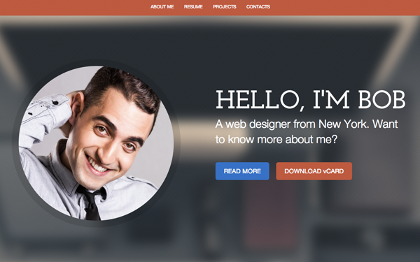 personal resume website example