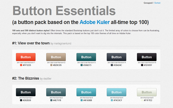 Bootstrap theme Button Essentials - Button Pack