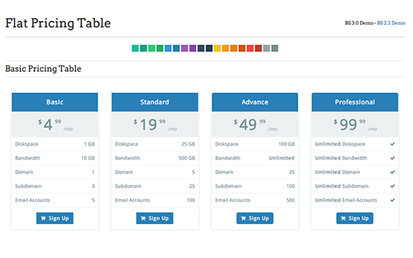 Bootstrap template Flat Pricing Table