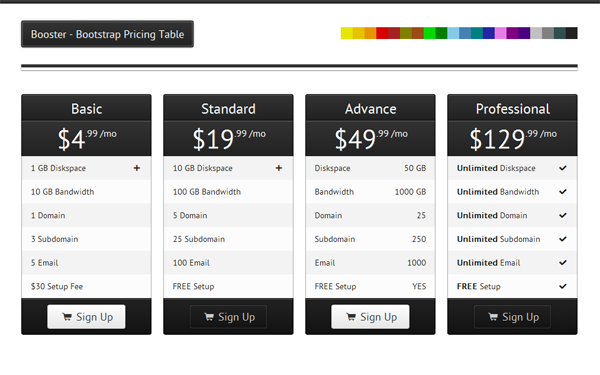 Bootstrap theme Booster - Bootstrap Pricing Table