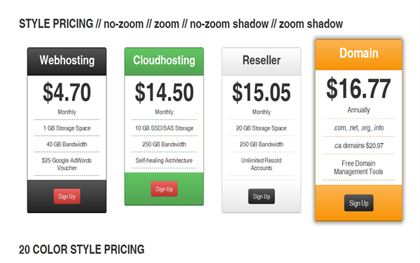 Bootstrap theme Nyooh Pricing Tables