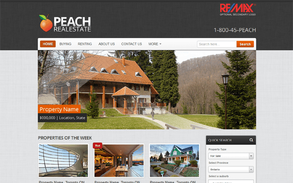 Bootstrap theme Peach Realestate - Wordpress