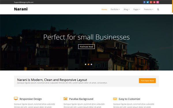Bootstrap theme Narani - Multi-purpose Parallax Template