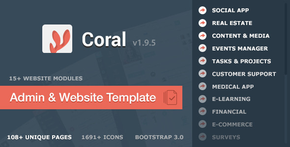 Bootstrap theme CORAL - App & Website Startup KIT