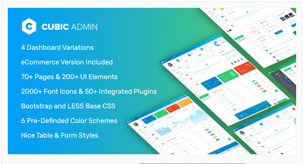 Bootstrap theme Cubic Admin - Dashboard + UI Kit Framework with Frontend Templates