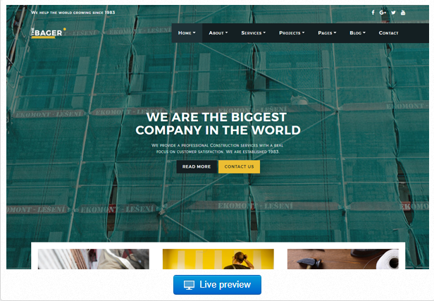 Bootstrap theme The Bager - Construction & Building