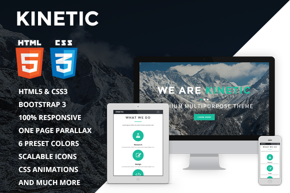 Bootstrap theme Kinetic - One Page Parallax Theme