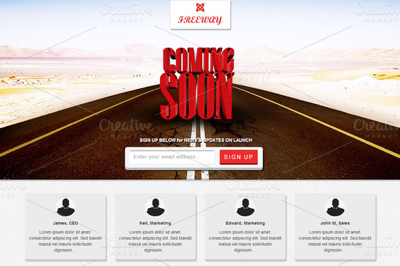 Bootstrap theme Freeway -Responsive Coming Soon Page