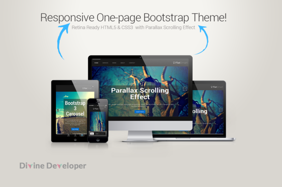 Bootstrap template FlatSmart Responsive One Page