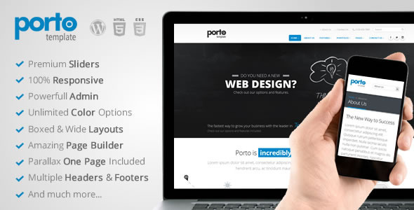 Bootstrap theme Porto Multipurpose Responsive WordPress Theme
