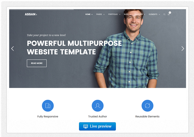 Bootstrap theme Assan - Multipurpose - 15 Themes + Admin